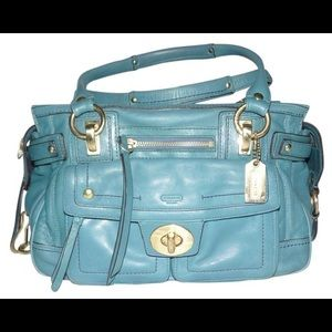 Coach Hampton Rare Vintage Leather Legacy Teal Bag